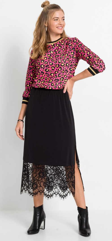 Zajímavá černá dámská sukně s krajkou