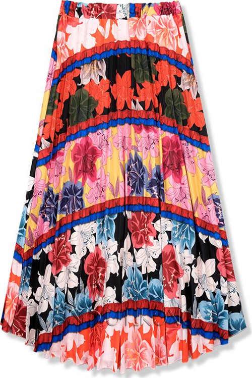 Dámská maxi sukně s dekorativním květinovým potiskem