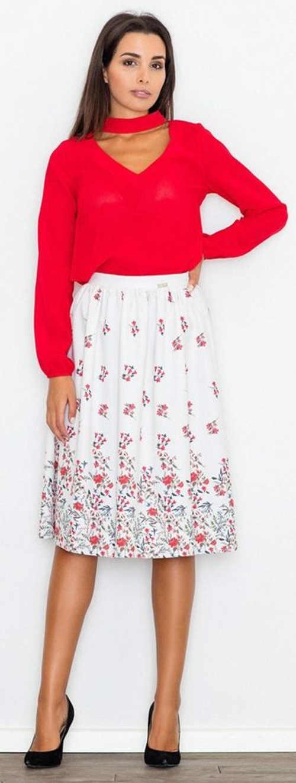 Elegantní řasená květinová sukně s délkou pod kolena