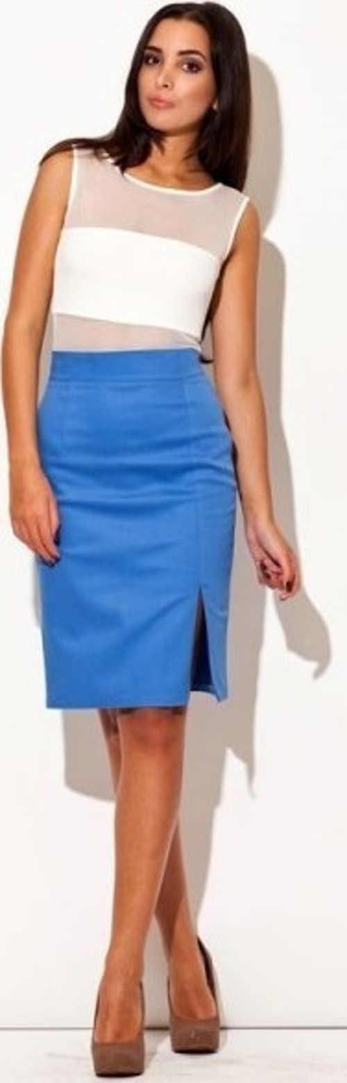 Jednobarevná modrá společenská dámská sukně