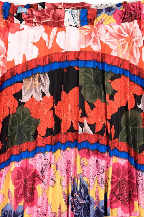 Pestrobarevná dlouhá dámská sukně s květinovým vzorem