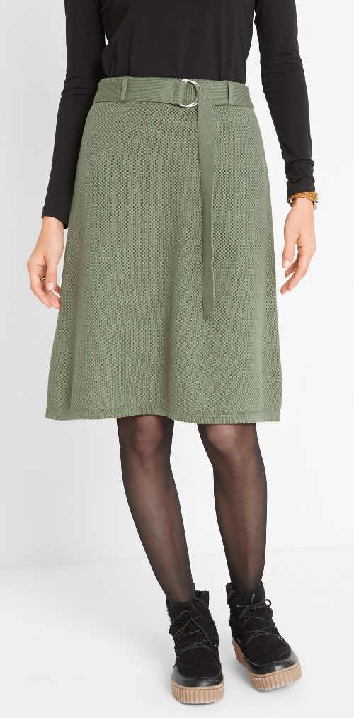 Pletená jednobarevná dámská sukně s páskem