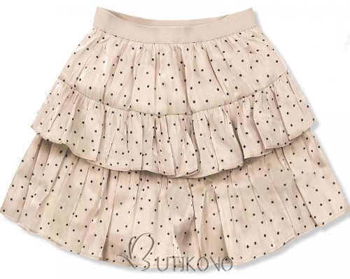 Vrstvená béžová krátká tečkovaná sukně