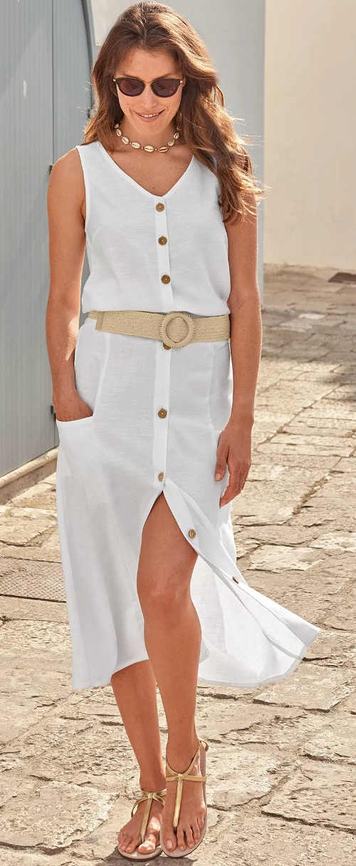 Lehounká letní bílá midi sukně na knoflíky