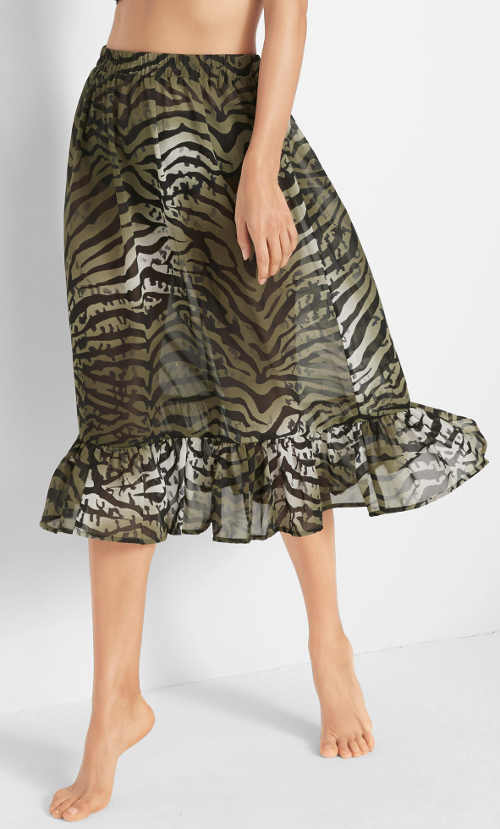Olivová plážová sukně se zebřím vzorem