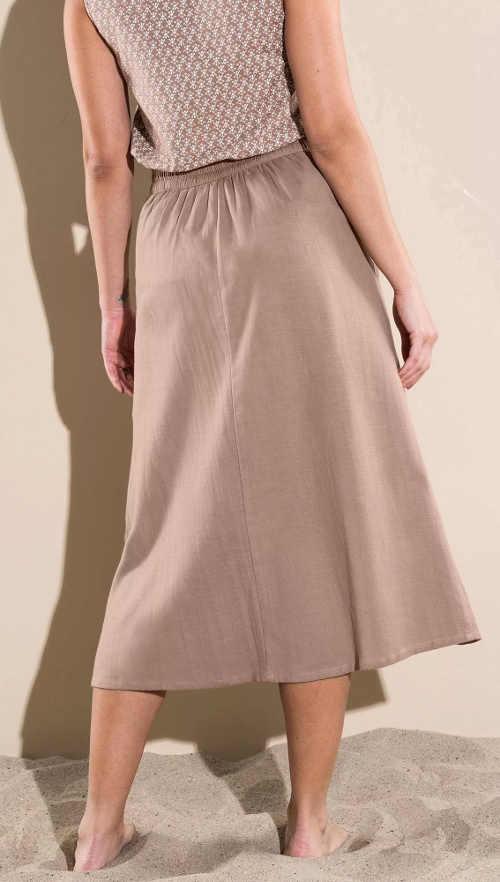 Béžová letní midi sukně pro plnoštíhlé