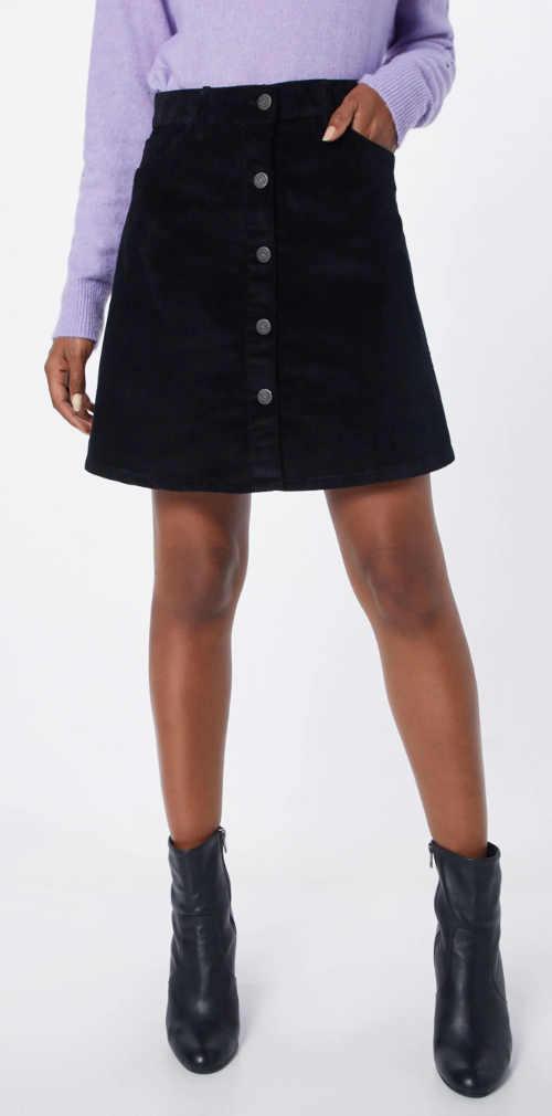 Černá áčková dámská sukně s knoflíky a kapsami