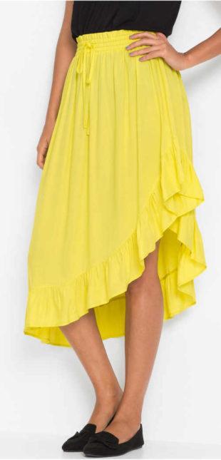 Dlouhá žlutá asymetrická sukně s volánky