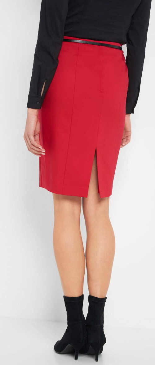 Elegantní červená společenská sukně s rozparkem