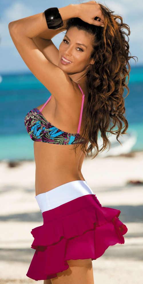 Fialová volánová plážová sukně s bílým lemem v pase