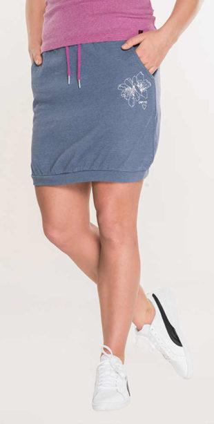 Levná tepláková letní sukně se šňůrkou v pase