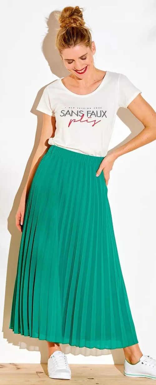 Pohodlná zelená plisovaná sukně maxi délky