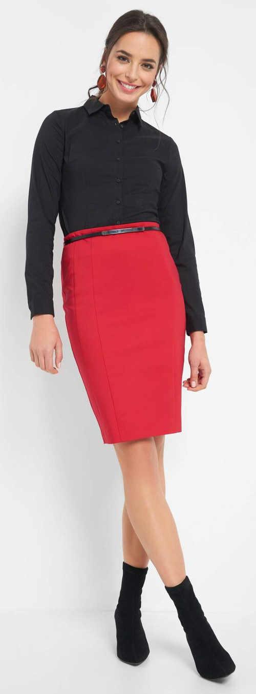 Rovná červená dámská společenská sukně s délkou ke kolenům