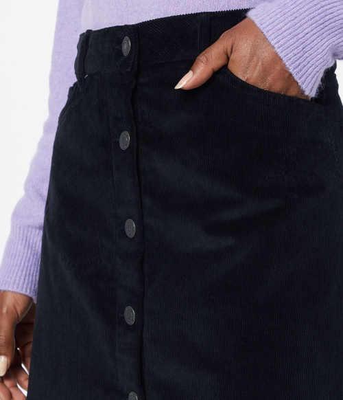 Tmavá  manšestrová dámská sukně s předními kapsami