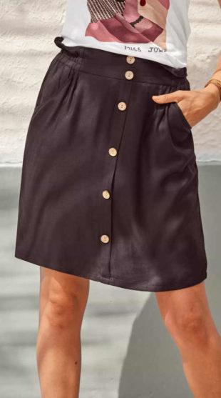 Výprodej čokoládová sukně s knoflíky na přední straně