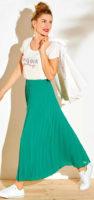 Zelená dámská plisovaná maxi sukně