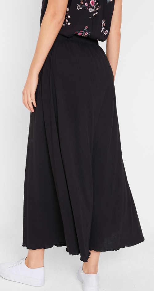 Dlouhá černá jednobarevná sukně Bonprix