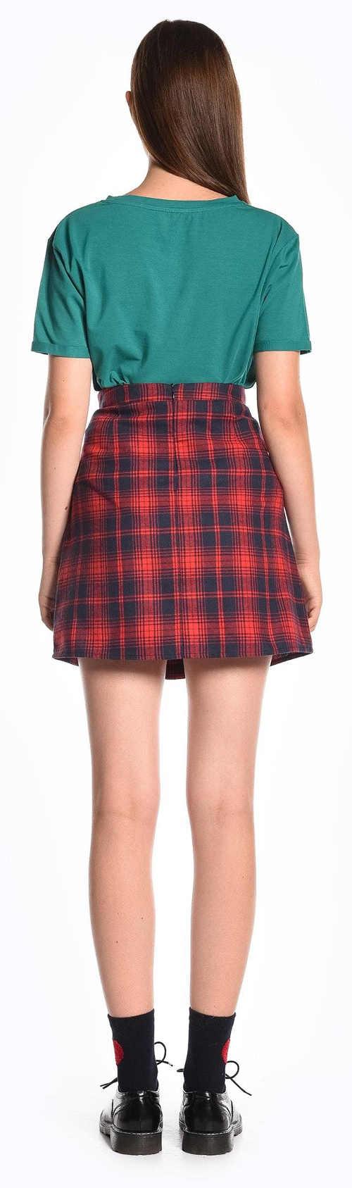 Krátká károvaná áčková dámská sukně
