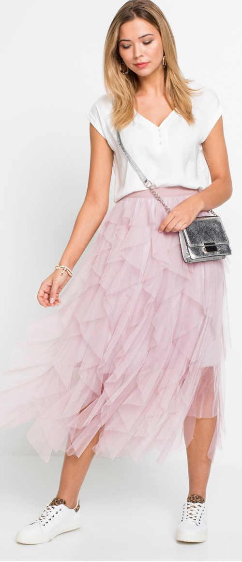 Dlouhá růžová tylová dámská sukně