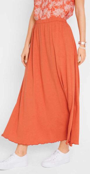 Dlouhá žerzejová jednobarevná sukně s pasem do gumy