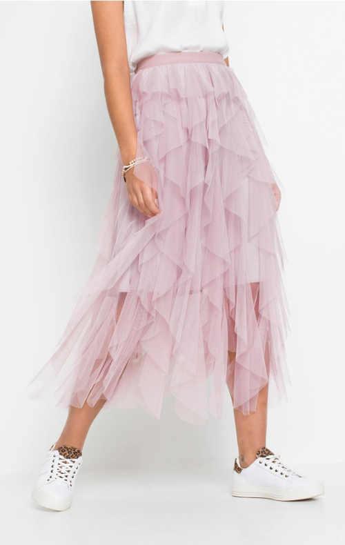 Jednobarevná tylová sukně midi délky