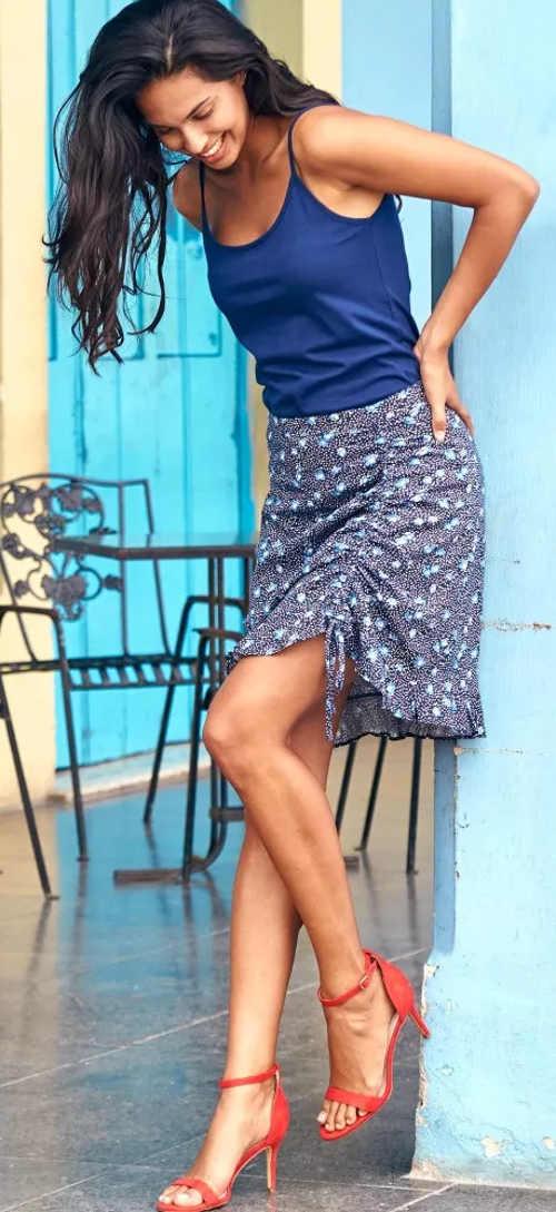 Lehká letní sukně s boční stahovací šňůrkou
