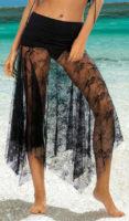 Plážová dámská sukně z průsvitné černé krajky