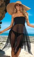 Průsvitné síťované šaty přes plavky nositelné jako sukně