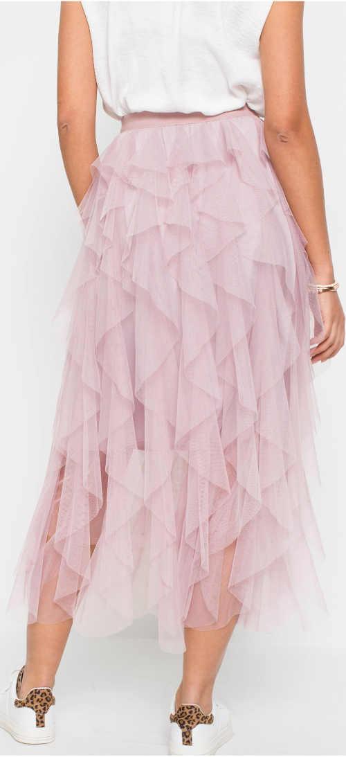 Vrstvená růžová tylová letní sukně