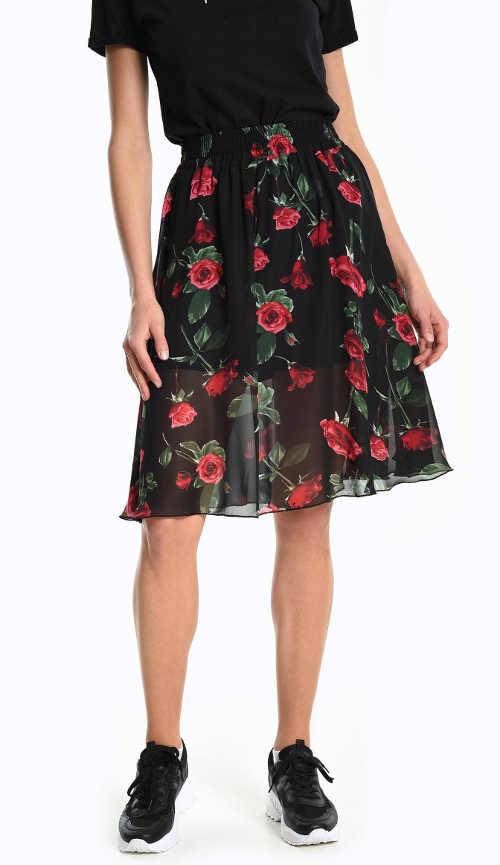 Áčková černá sukně s květovaným vzorem a pružným pasem