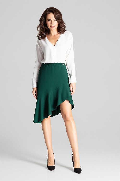 Asymetrická dámská sukně s volánovým lemem