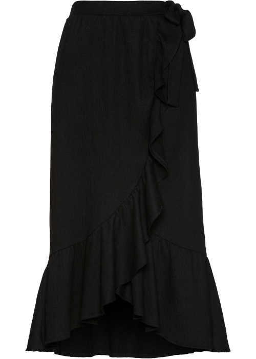 Černá dámská zavinovací sukně s volánem v midi délce
