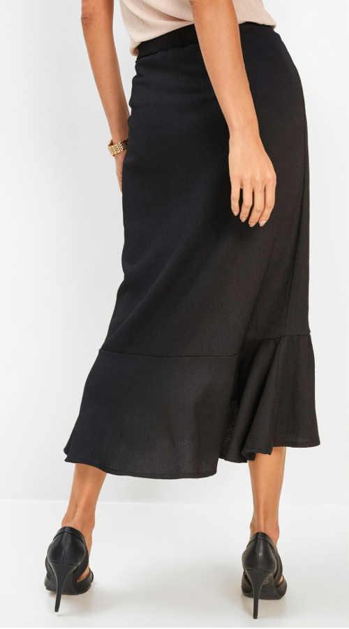 Černá zavinovací sukně s volánem