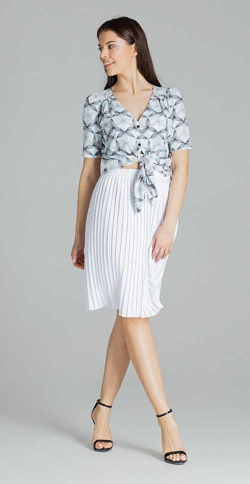 Dámská sukně v midi délce v bílém provedení