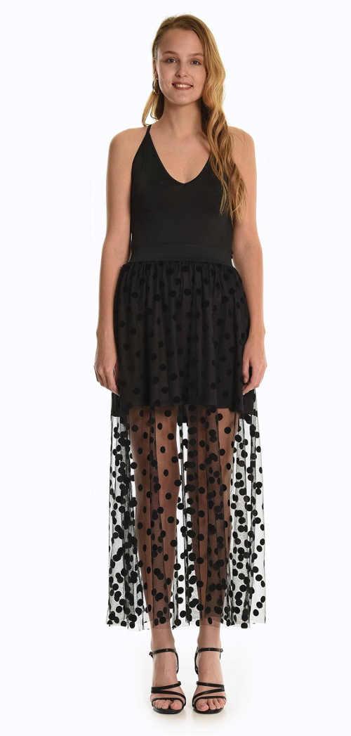 Dámská kombinovaná sukně s puntíkatým vzorem