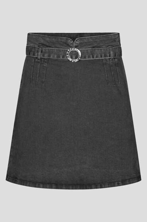Dámská stylová mini sukně z šedého denimu s páskem