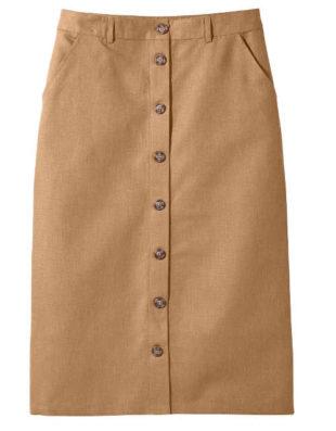Dámská sukně rovného střihu vpředu s knoflíkovou légou
