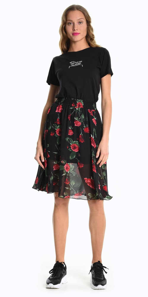 Dámská sukně s květinovým potiskem v áčkovém střihu