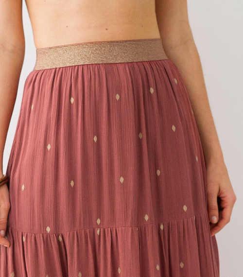 Dámská sukně s potiskem a volánem