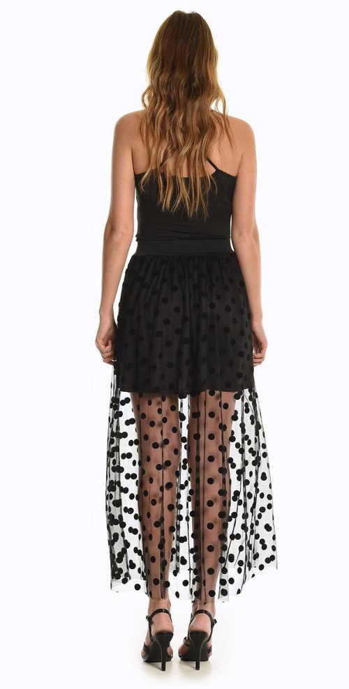 Dlouhá černá sukně s puntíkatým vzorem