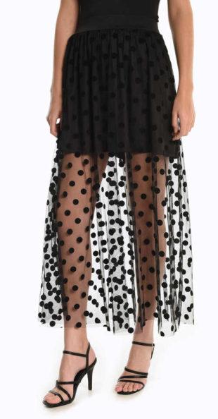 Dlouhá dámská sukně v rafinovaném střihu s moderním puntíkem