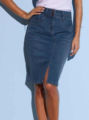 Džínová sukně v délce ke kolenům s rozparkem vpředu