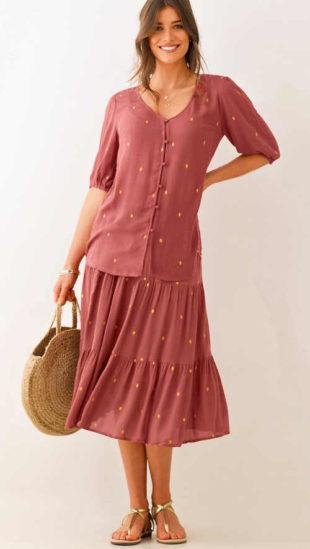 Moderní dámská sukně se zlatým potiskem a volánem
