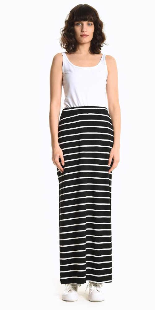 Proužkovaná sukně v maxi délce
