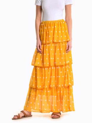 Puntíkovaná sukně s volány v maxi délce v černém či žlutém provedení