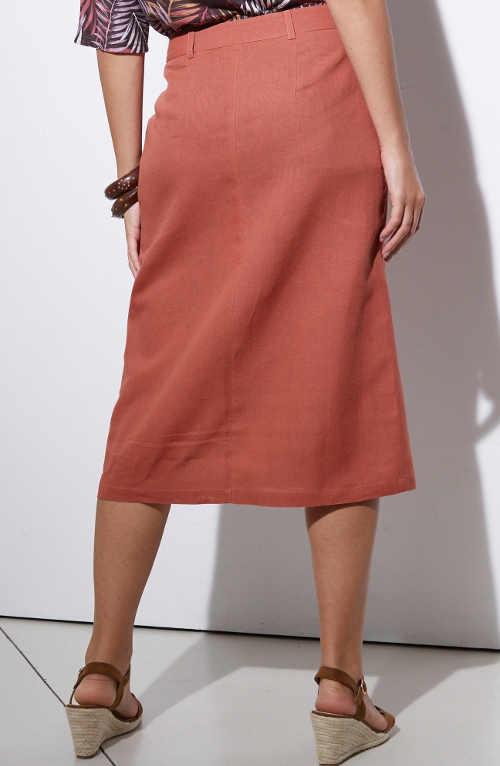 Rovná dámská sukně ke kolenům na knoflíky