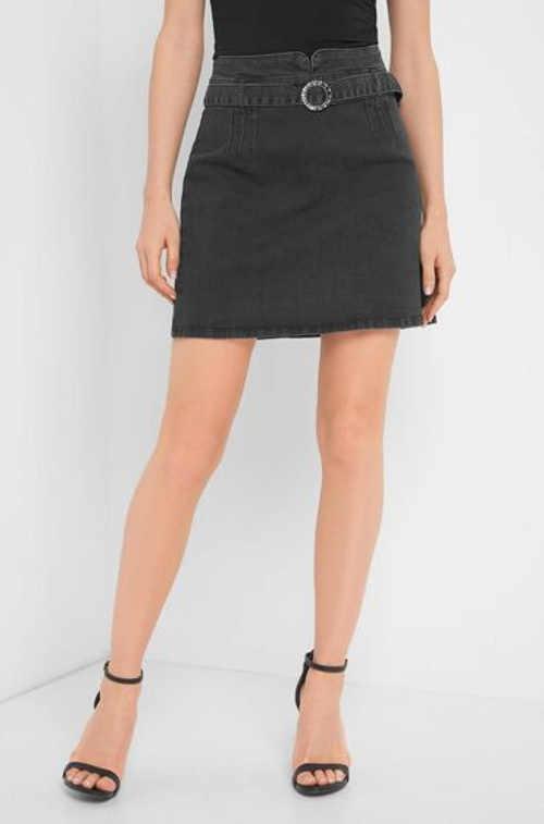 Šedá riflová dámská mini sukně