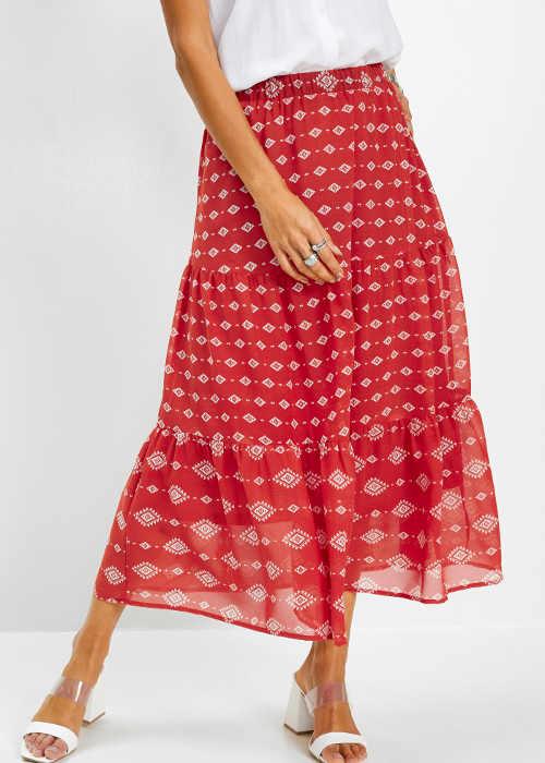 Šifonová dámská dlouhá sukně s moderním potiskem