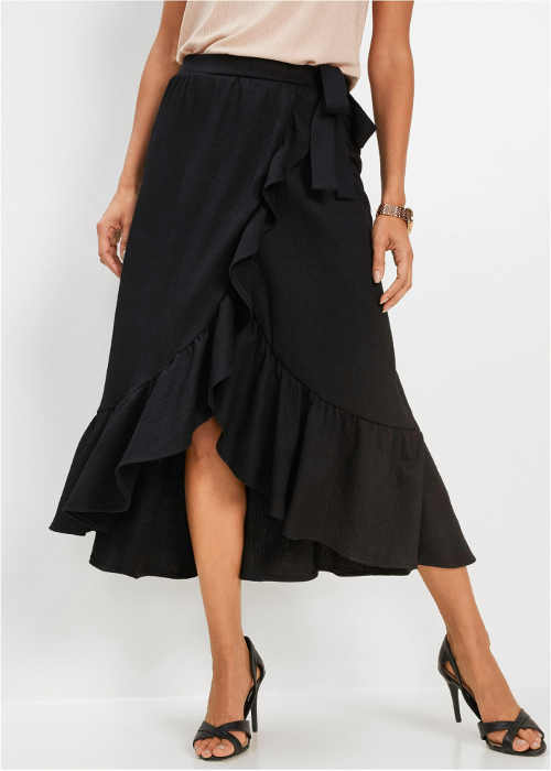 Zavinovací sukně v midi délce v černém provedení