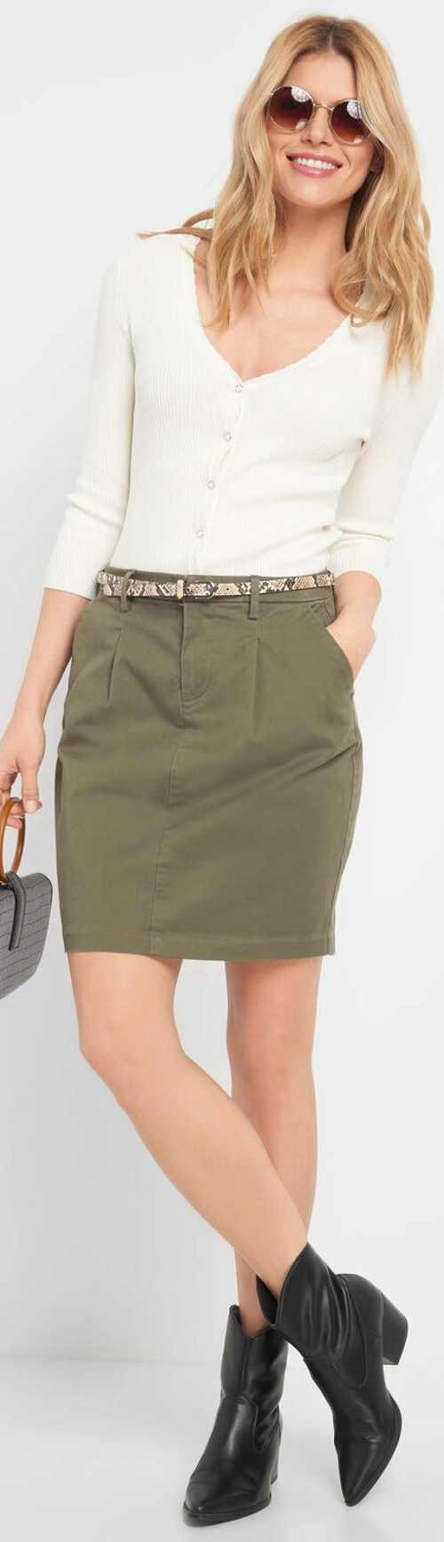 Bavlněná dámská khaki sukně Orsay
